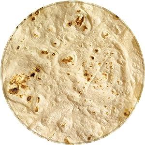 BROSHAN Burrito Blanket for Kids 47 Dia, Realistic Food Tortilla Pattern Throw Blanket for Sofa Plush, Round Food Blanket Towel