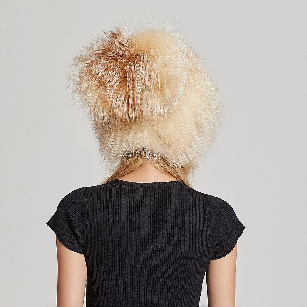 Fur Story Women's Real Fox Fur Skullies Beanie Hat Elastic Warm Winter Hats Gold Fox by Fur Story (Image #6)