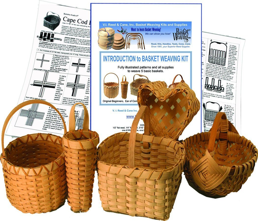 Introduction to Basket Weaving Kit for 5 Baskets V.I. Reed & Cane Inc.