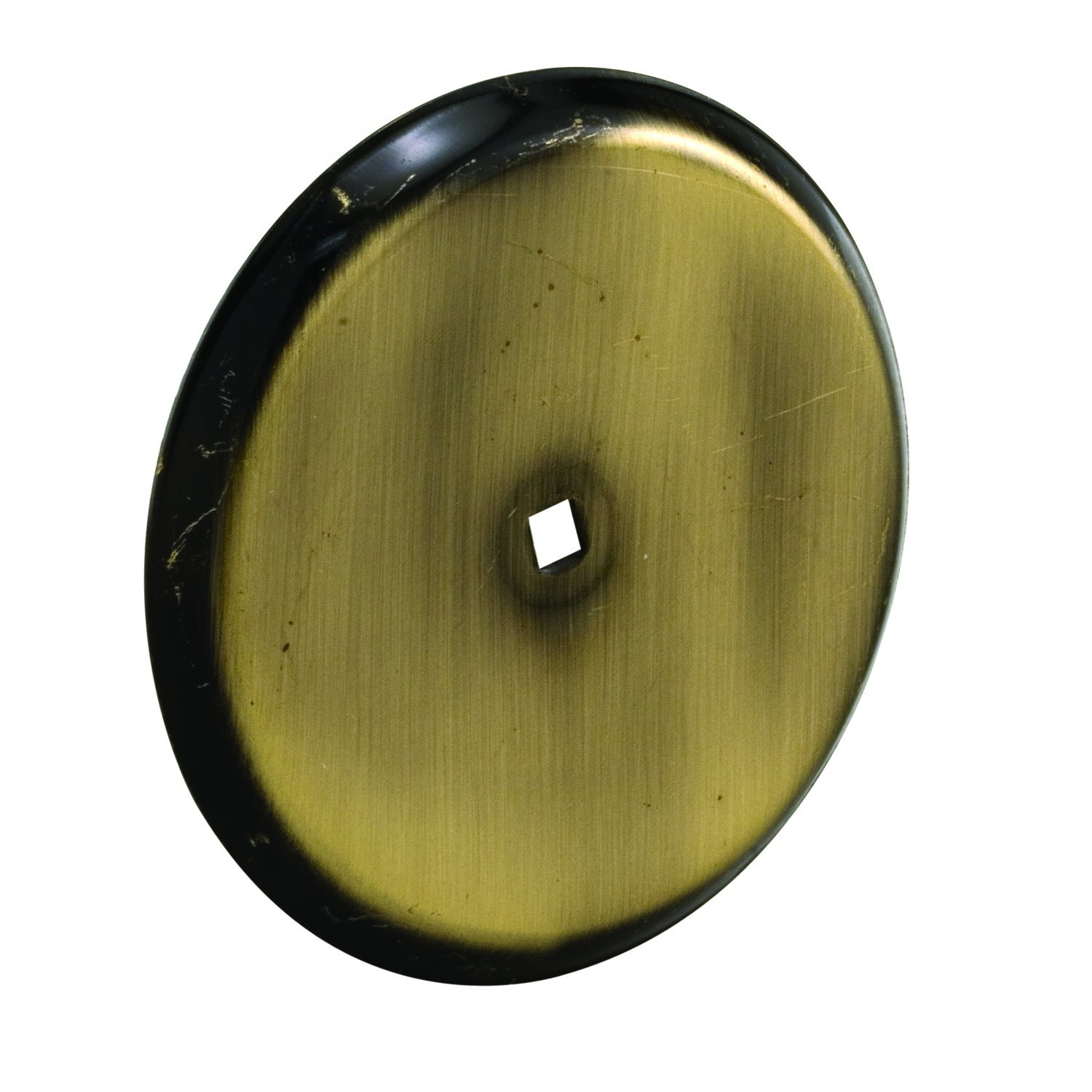 Prime-Line MP9201 Cabinet Knob Backplate, 2-13/16 in. Outside Diameter, Stamped Steel, Antique Brass Finish, Pack of 5