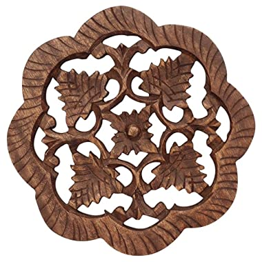 SouvNear 5.6 Inch Wooden Trivet for Hot Dishes Hand-Carved Table Decor Trivet in Mango-Wood - Dark-Brown - Eco-Friendly - Home and Dining-Table Essentials