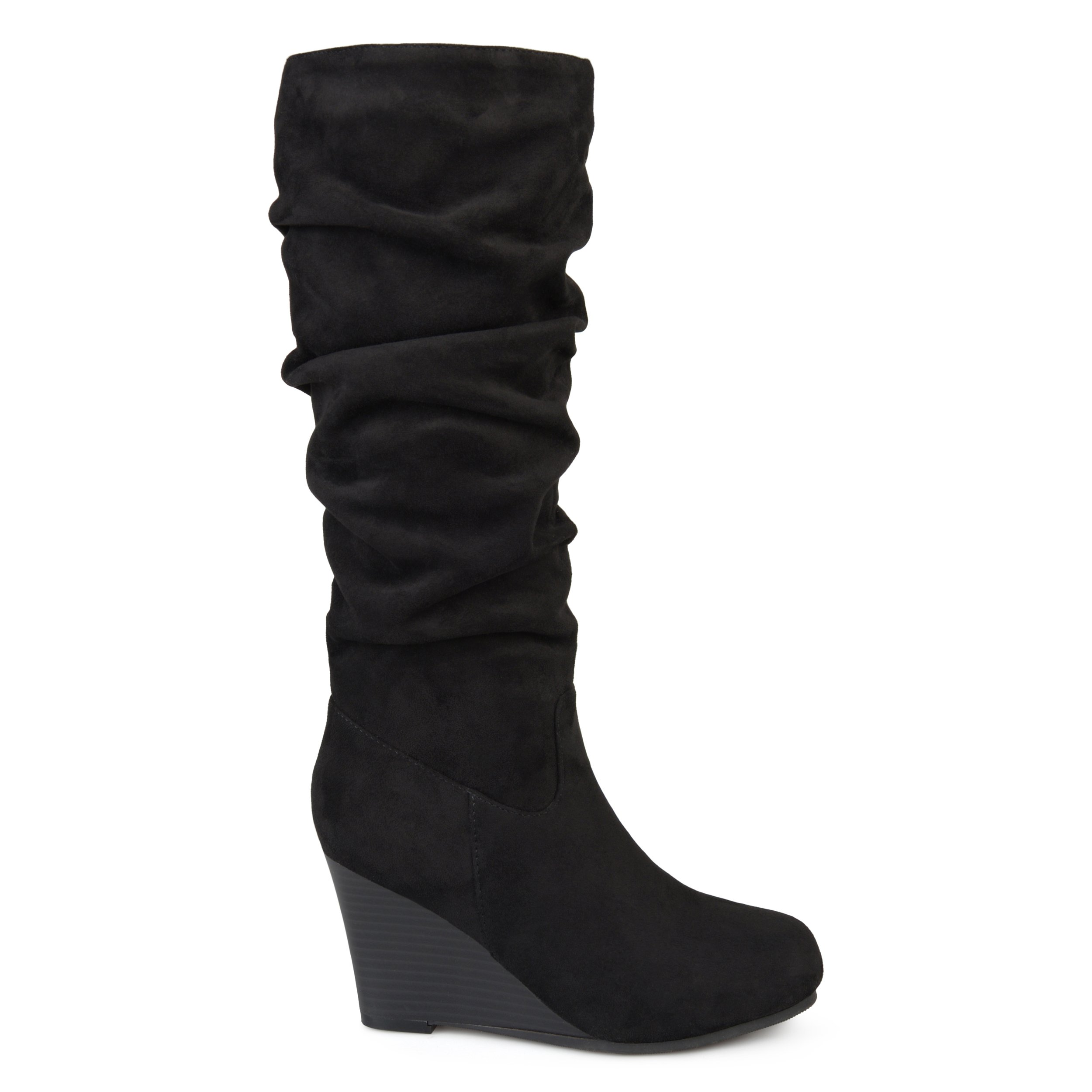 Brinley Co. Womens Regular Wide Calf Slouchy Faux Suede Mid-Calf Wedge Boots Black, 7.5 Regular US