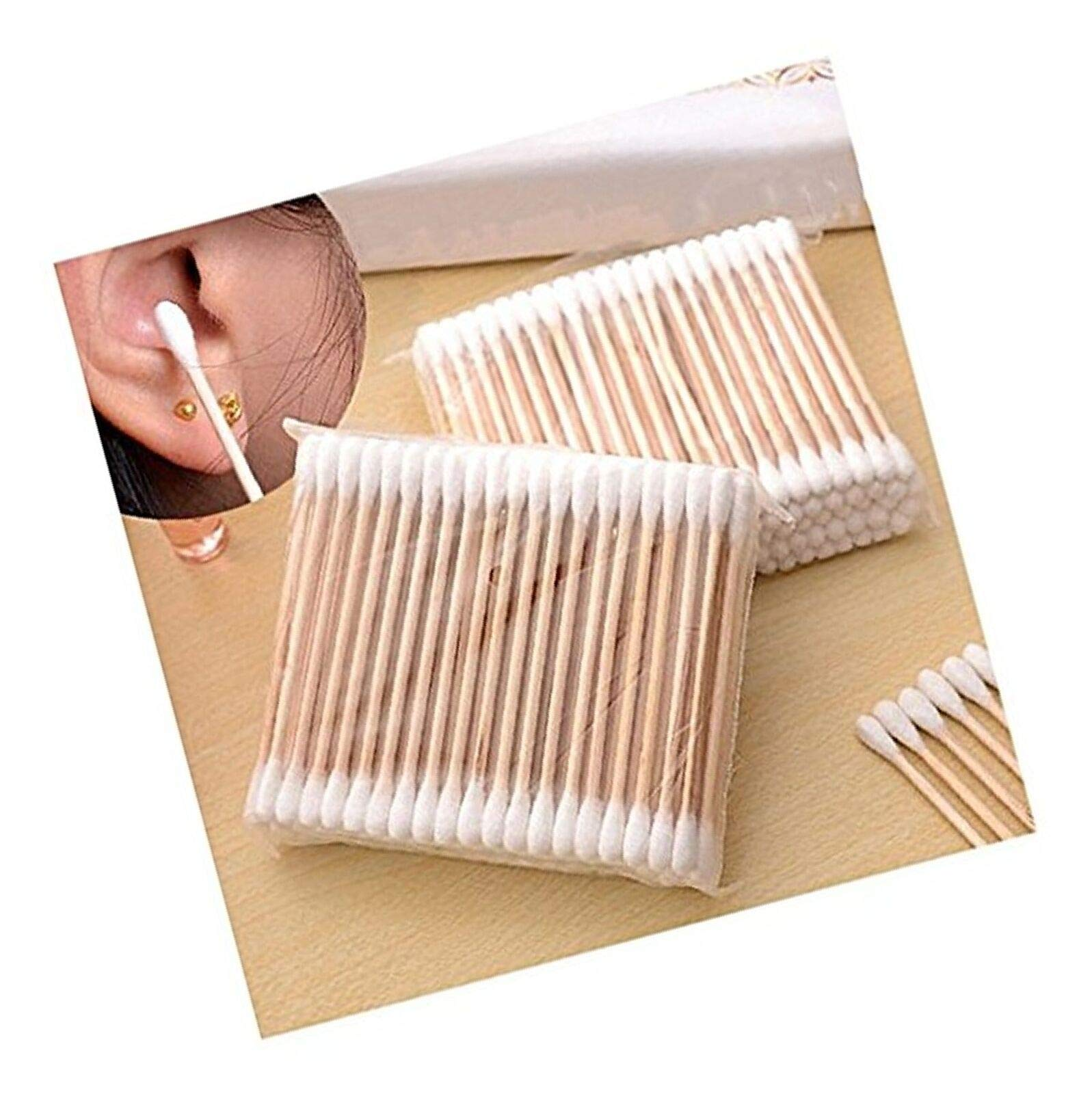 Brown-Fox 100Pcs New Disposable Cotton Swab Applicator Q-tip Swabs