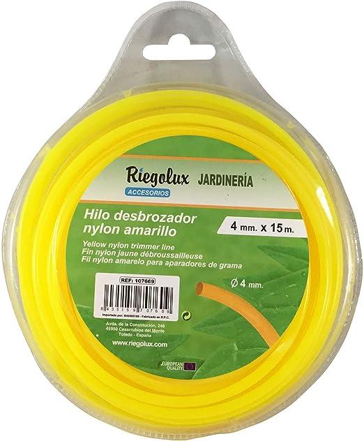 Riegolux 107669 Hilo Desbrozadora Nylon Redonda, Amarillo, 4 mm x 15 m: Amazon.es: Jardín