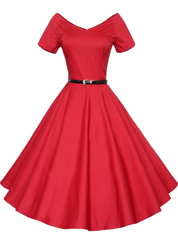 IMUYI Women 1950s V-Neck Vintage Rockabilly Swing Evening Party Dress