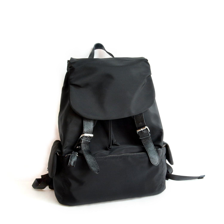 (サックドゥエール) sac de R レザー使いナイロンリュック,ブラック,ベージュ. B0188XJCIQ