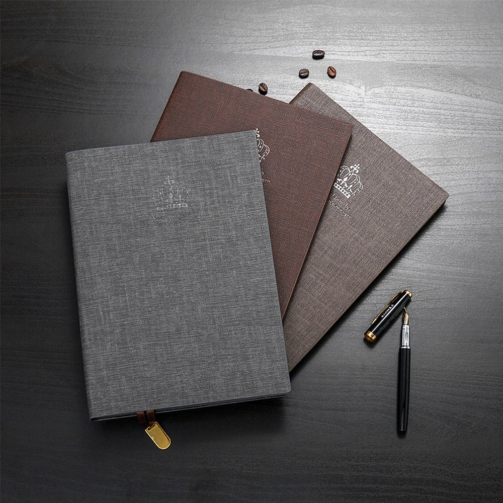 Zhi Jin A5 Classic Embossed Crown Leather Notebook Diary Journal Notepad Ruled Paper Hardback For Offic Travel Gift Light Coffee