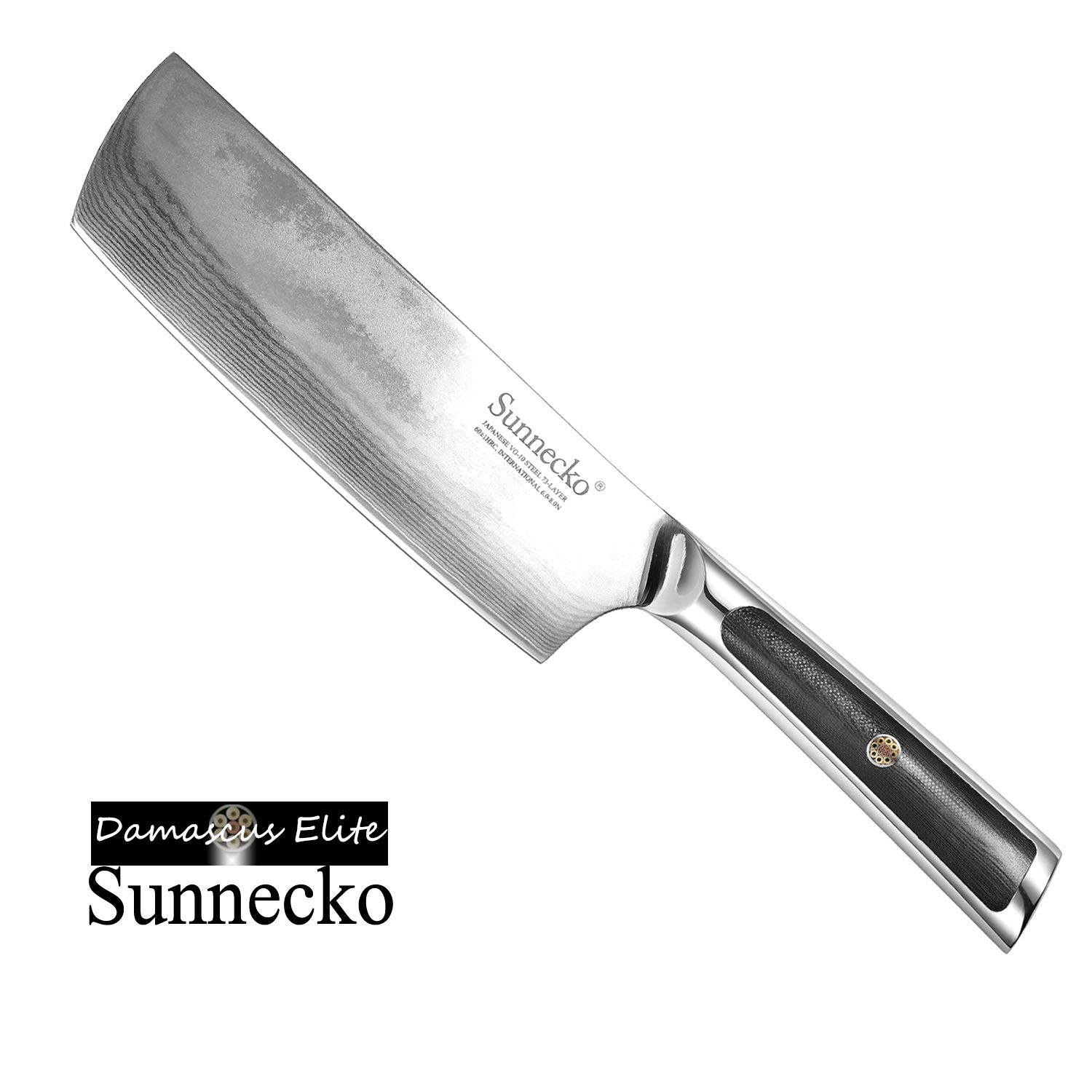 Sunnecko Kitchen Knife 7 Inch, Vegetable Cleaver Chinese Chef's Knife Nakiri Usba, Damascus Japanese VG-10 Core 73 Layers, All Metal Forged G10 Handle for Home and Restaurant