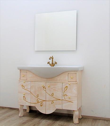 Mobile da bagno classico avorio e oro con lavabo: Amazon.it: Casa e ...