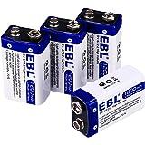 EBL Lot de 4 Piles 9V 1200mAh au Lithium Jetable de Super Longue Durée de Vie avec Boîte de Stockage