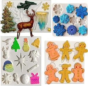 Amestar Set of 4 Christmas Fondant Molds, Xmas Cake Cupcake Decoration Silicone Chocolate Candy Mold, Gingerbread Man/Christmas Tree/Reindeer/Snowflake/Santa Claus/Angel/Jingle Bell Xmas Decor