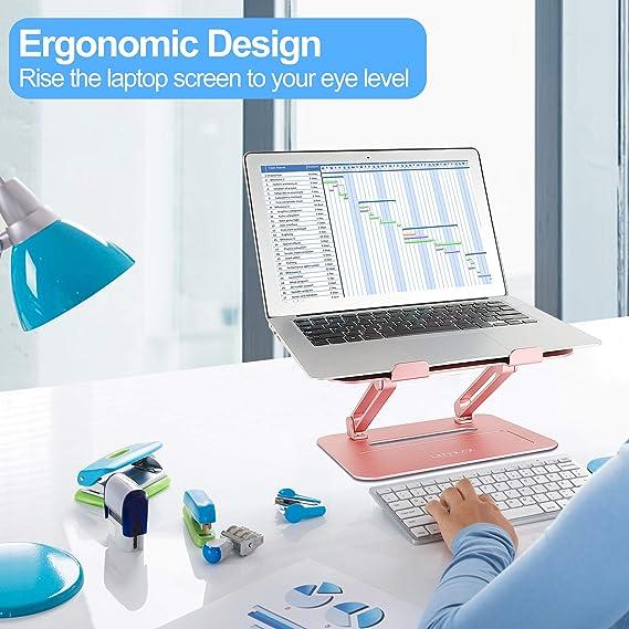 Dell Urmust Support ergonomique r/églable pour ordinateur portable avec tapis de souris Compatible MacBook Air Pro HP Lenovo Aluminium l/éger jusqu/à 17 noir