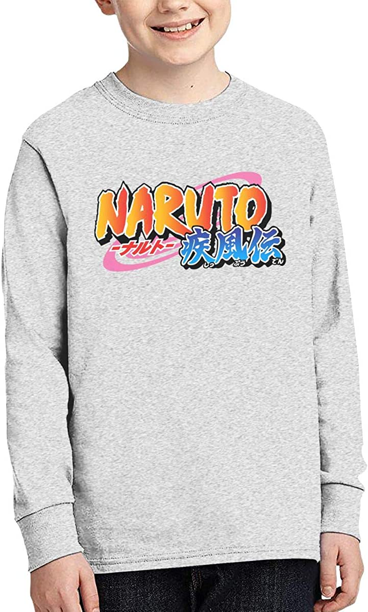 Cvcxvcxvcxvc Naruto Shippuden Logo Cotton Crew Neck Long Sleeve Graphic T-Shirt for Teens Boys Girls