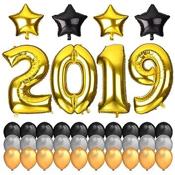 Neujahr Silvester Party Set 2019 Deko Howaf 40inch Gold Zahlen 2019
