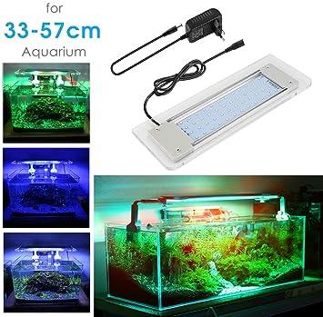 Lámpara Acuario Luces Impermeable LED para Acuarios de Peces y Estanques Aluminio Acrílico Vidrio Blanco Azul Rojo Verde para Acuario 33cm-57cm: Amazon.es: ...