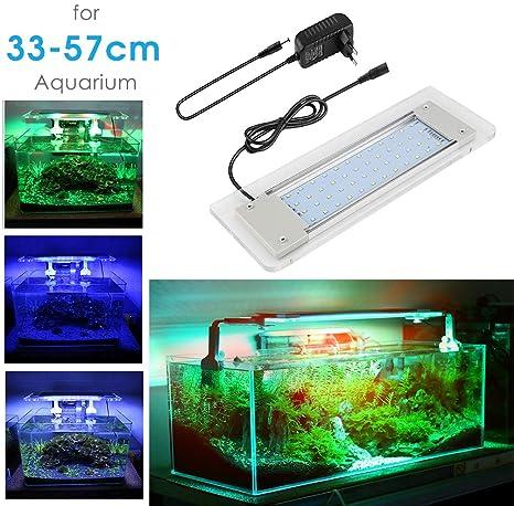 Lámpara Acuario Luces Impermeable LED para Acuarios de Peces y Estanques Aluminio Acrílico Vidrio Blanco Azul