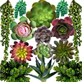 DECOROUS Artificial Succulents Plants - 14 Fake Succulents Unpotted - Indoor and Outdoor Succulants Artificial Decor - Fake S