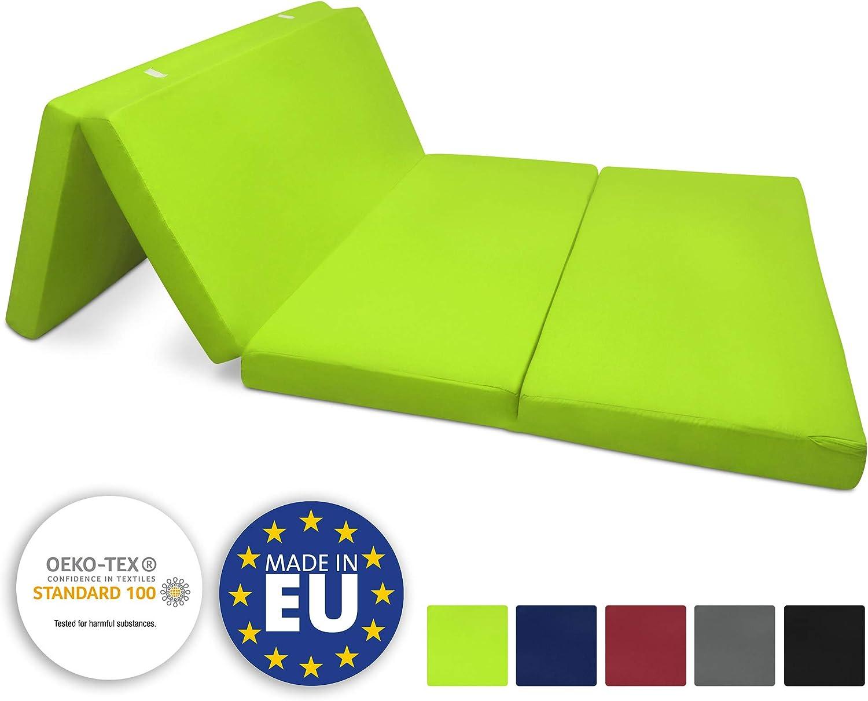 Beautissu Colchón Plegable Campix 120 x 195 x 7 cm - Cómodo y Ahorra Espacio - con Funda de Microfibra - Verde