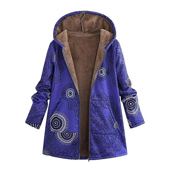 5d9073f60 Innerternet_Femme Manteaux à Capuche Coton Lin en Peluche Moelleux Top  ÉPais Automne Hiver Zippé Poches Veste Polaire Mi-Long Casual Sweatshirt …
