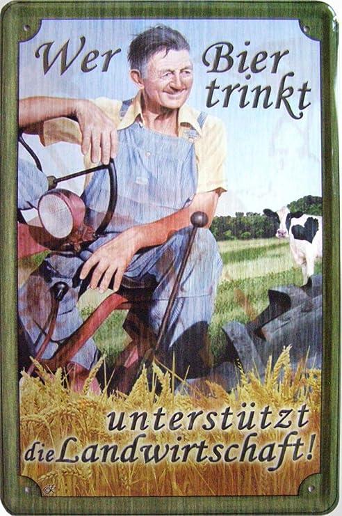 WER BIER TRINKT METALL UNTERSETZER 9x9cm COASTER 46130 LANDWIRTSCHAFT