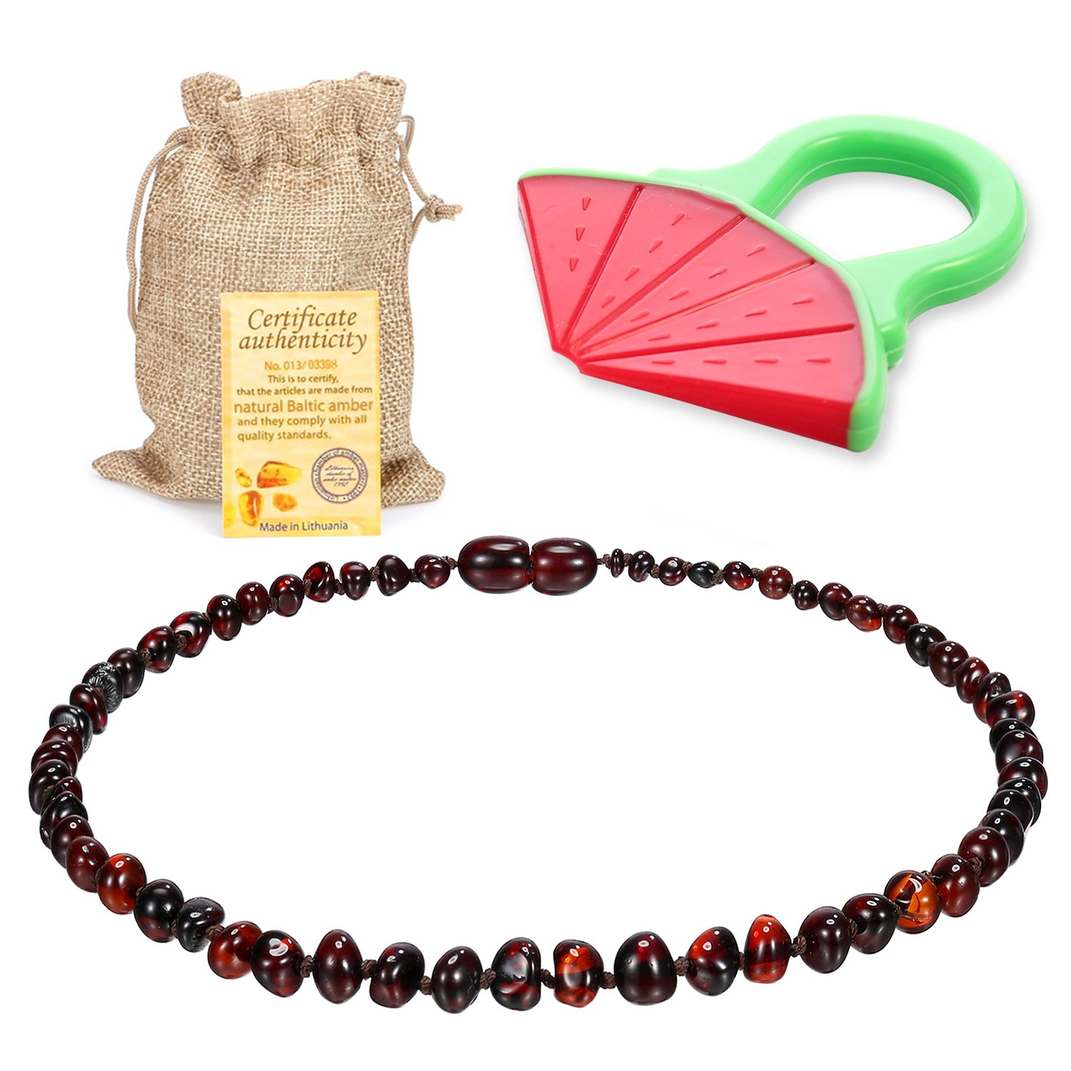Baby Baltic Amber Teething Necklace Jewelry - (Cherry) Anti-Flammatory, Drooling & Free Teething Toy Pain Reduce - Reduces Tension and Fear, Teething Necklace For 3 to 36 Months Babies,Boys and Girls Sweetie House