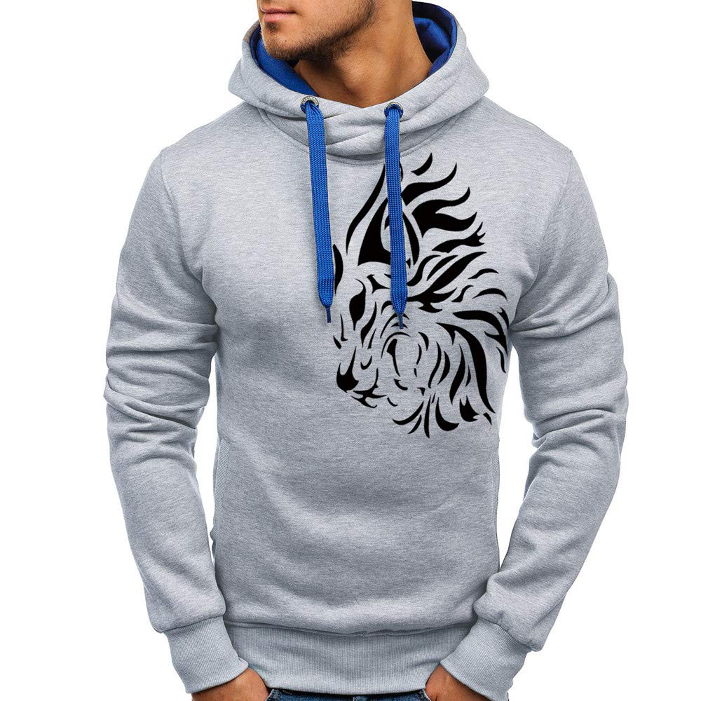 GoodLock Clearance! Mens Fashion Pullover Hooded Tops Casual Autumn Winter Printed Sweatshirt Blouses Outwear