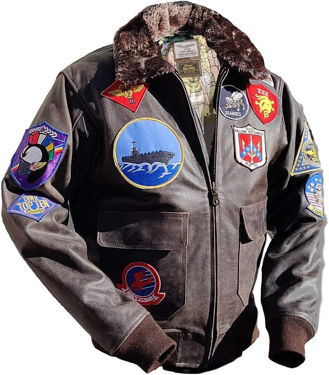 Noble House Top Gun Mavericks Chaqueta de Piloto en Cuero de Toro Marrón: Amazon.es: Ropa y accesorios