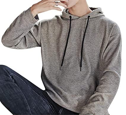 3046d497bf3 MK988 Men Loose Fit Casual Drawstring Solid Color Long Sleeve Pullover  Hoodies Sweatshirt Light Brown XL