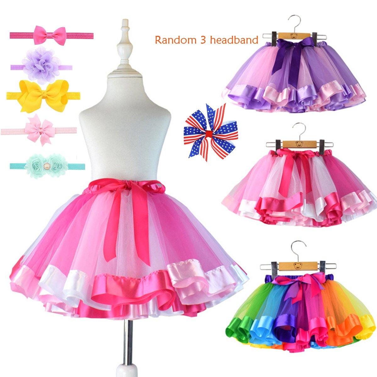 Girls Tutu Skirt Layered Rainbow Bow Dance Party Princess Dress Homdar Direct