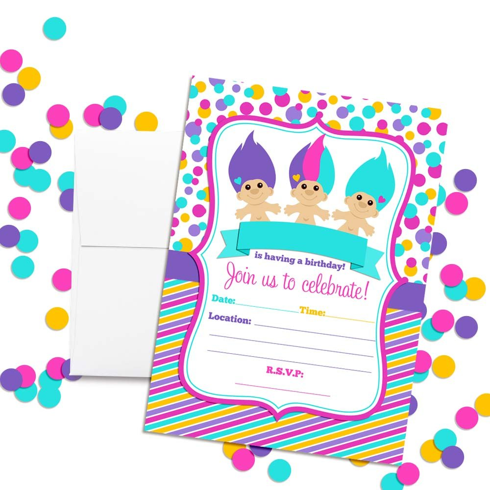 90/'s Trolls Birthday Party Invitations for Girls 20 5x7 Fill in Cards with Twenty White Envelopes by AmandaCreation 20 5x7 Fill in Cards with Twenty White Envelopes by AmandaCreation Amanda Creation