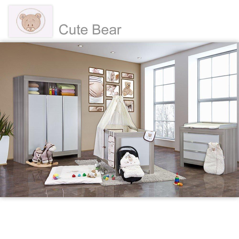 Babyzimmer Felix in akaziengrau 21 tlg. mit 3 türigem Kl. + Cute Bear in Beige
