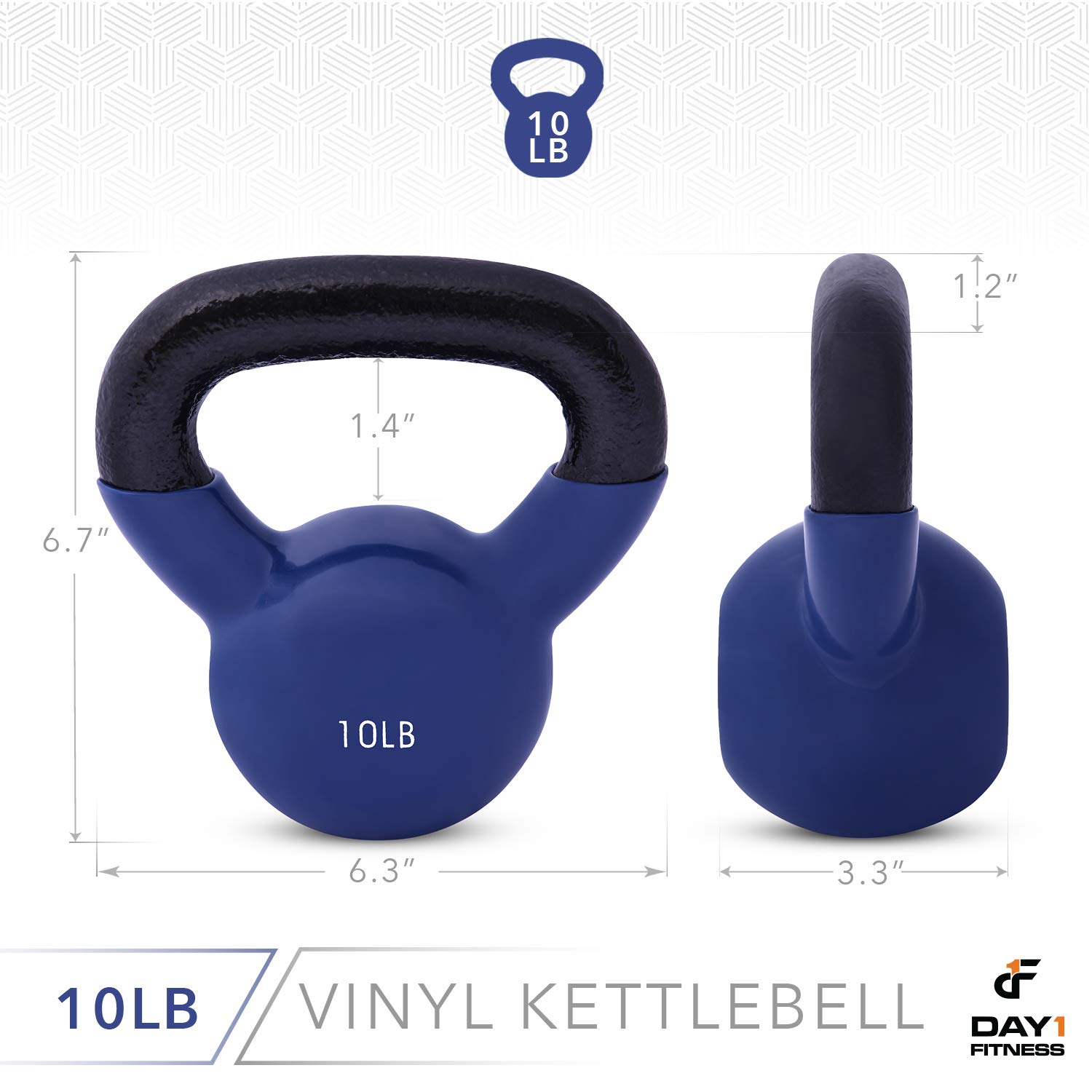 Day 1 Fitness Kettlebell Weights Vinyl Coated Iron 10 Pounds - Coated for Floor and Equipment Protection, Noise Reduction - Free Weights for Ballistic, Core, Weight Training by Day 1 Fitness (Image #3)