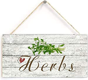 """Herbs Sign, Rustic Style Garden Sign, 5"""" x 10"""" Wood Herb Sign, Kitchen 12.5cm X 25cm"""