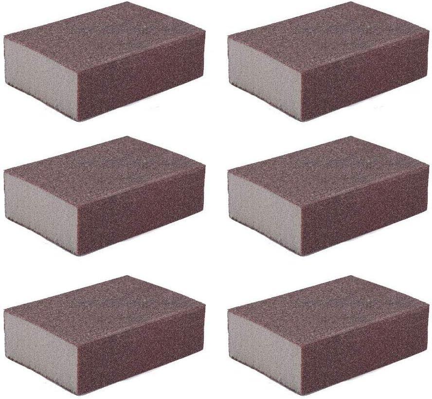 Liyafy 6pcs 100# Grit Sponge Emery Cloth Sandpaper Blocks Buffing Diamond Polishing Pads Hand Sanding Tool