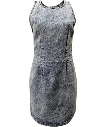 820c7e01e Women's Zip Back Stone Washed Denim Bodycon Dress (Small, Navy Acid Wash)