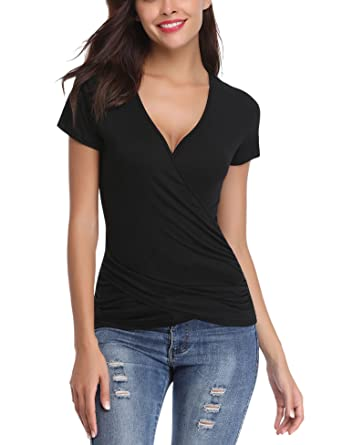 3783ce65 Abollria Womens Summer Wrap Top V-Neck Short Sleeve Slim Fit Casual Tee  Shirt Blouse: Amazon.co.uk: Clothing