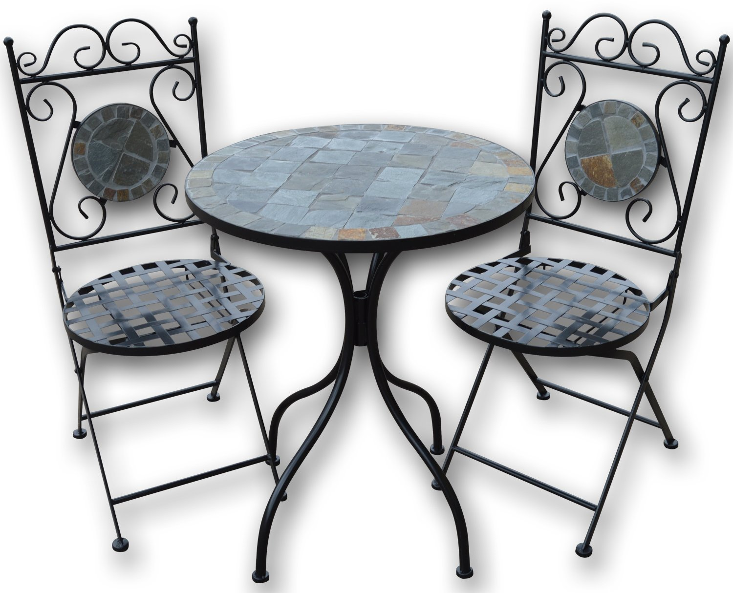 Woodside Mosaic Garden Table And Folding Chair Set Outdoor Dining