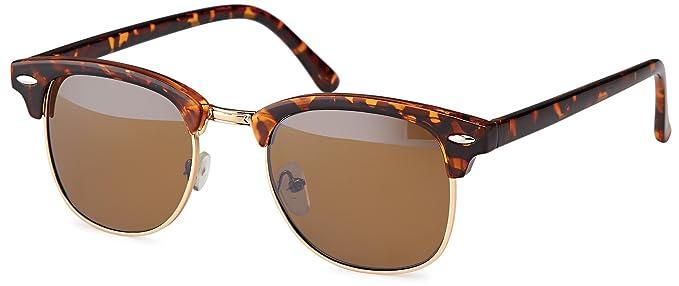 Vintage Sonnenbrille im 60er Style mit trendigen bronzefarbenden Metallbügeln Panto - Retro Brille (schwarz-Gradient) sdizg