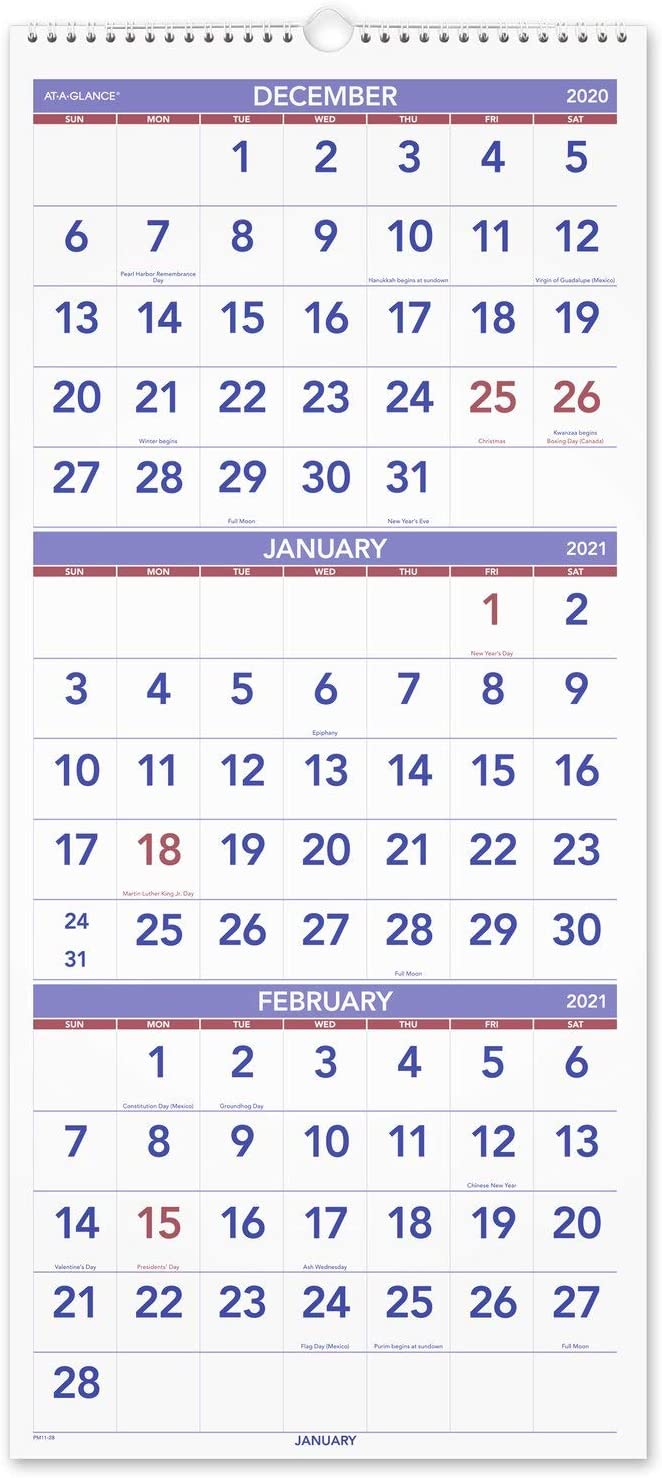 """2021 Wall Calendar by AT-A-GLANCE, 12"""" x 27"""", Large, Vertical, 3-Month Reference, Wirebound (PM112821)"""