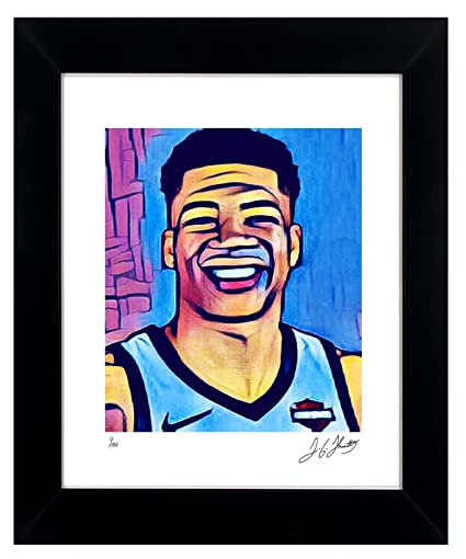 Giannis Antetokounmpo Framed Wall Art Autographed NBA Collectible by  TGTHURKETTLE. 1 100 Limited Edition d12d110a8
