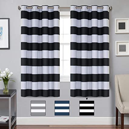 Amazon.com: Turquoize Blackout Striped Curtains Panels for Bedroom ...