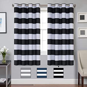 Amazoncom Turquoize Blackout Striped Curtains Panels For Bedroom