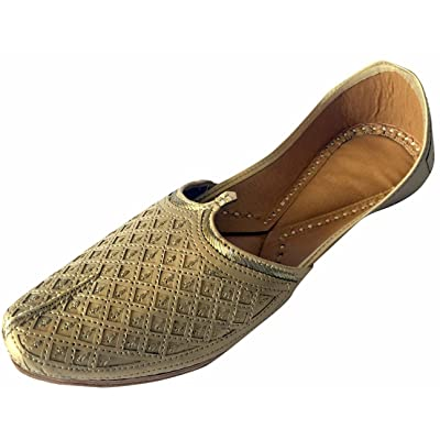 Step n Style Men's Flat Golden Bridal Khussa Shoes Traditional Indian Leather Loafer Punjabi Jutti | Loafers & Slip-Ons