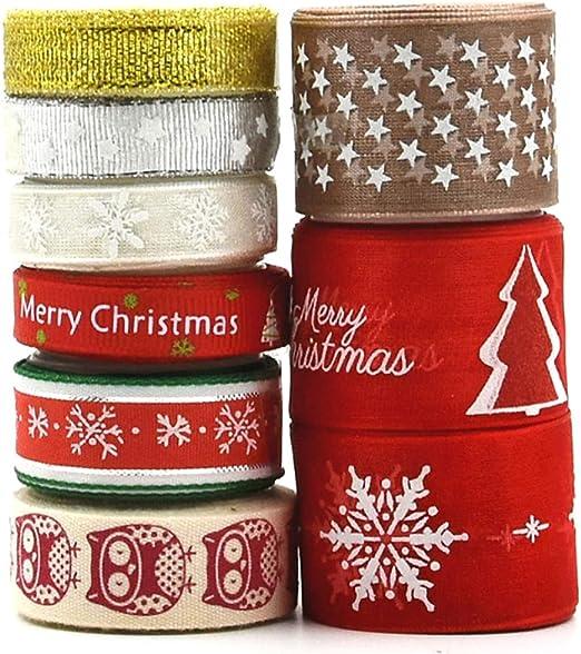 Amacoam Cinta Grosgrain Cinta Tela Navidad Cinta Regalo Navidad ...