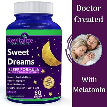 Melatonin Sleep Supplement with GABA, 5-HTP, L-Theanine - Sweet Dreams