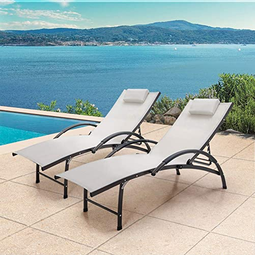 Crestlive Products Outdoor Reclining Chaise Lounge Chair