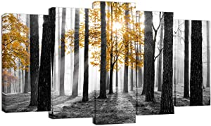 Visual Art Decor Large 5 Pieces Canvas Prints Yellow Tree in Black and White Sunshine Foggy Forest Picture Artwork Framed and Stretched Ready to Hang Modern Home Room Decoration L-60 XH-32(04 Forest)