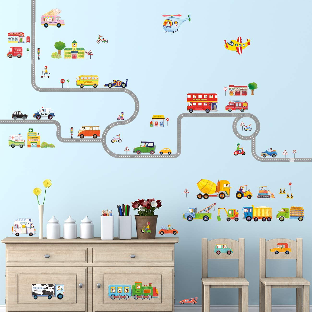 Decowall DAT-1404P1405 The Road and Transports Kids Wall Decals Wall Stickers Peel and Stick Removable Wall Stickers for Kids Nursery Bedroom Living Room by Decowall (Image #2)