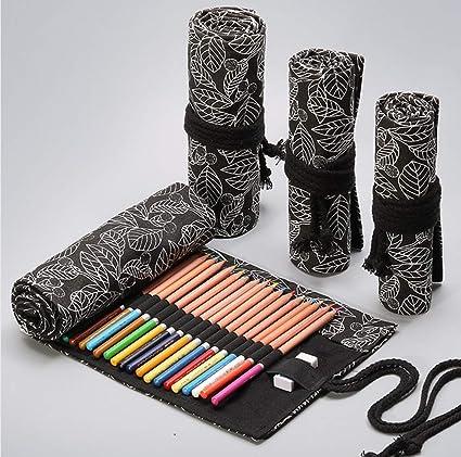 Estuche para lápices, bolsa de lápices de colores, impresión de hoja de tela, estuche para lápices, papelería, agujero 12/24/36/48, color 12 trous: Amazon.es: Oficina y papelería