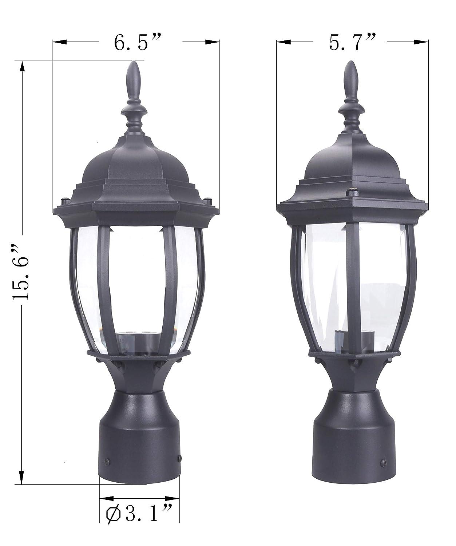 Aluminum Housing Plus Glass Black LIT-PaTH Outdoor Post Light Pole Lantern Lighting Fixture with One E26 Base Max 100W Matte Black Finish